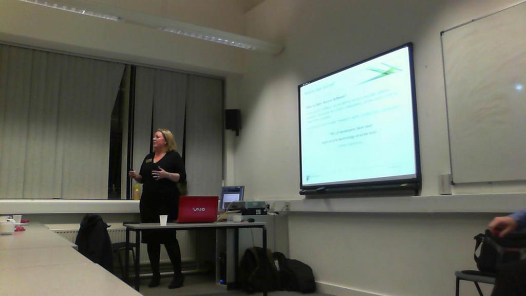 Hollie speaking at an Open Source event at TCAT<